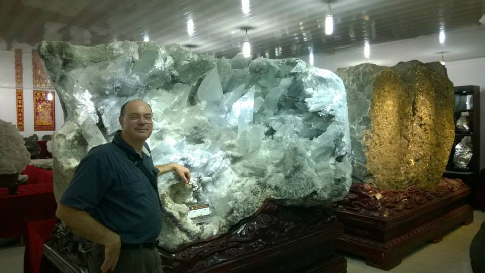 Arriving in Guilin, China to look at big rocks! Selenite carved nodule ready for sale