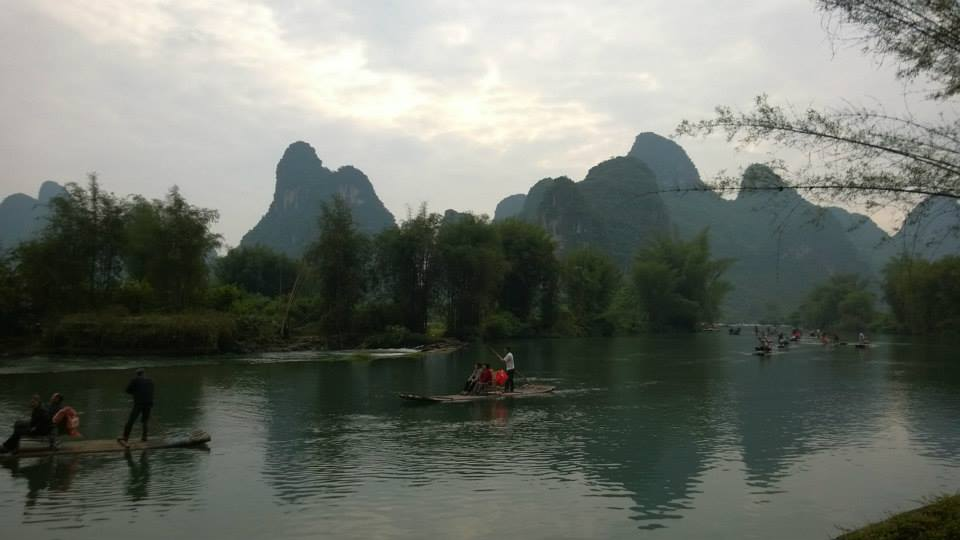 Enjoying the view of the Karst topography in Yangshou, Guangxi Province, China