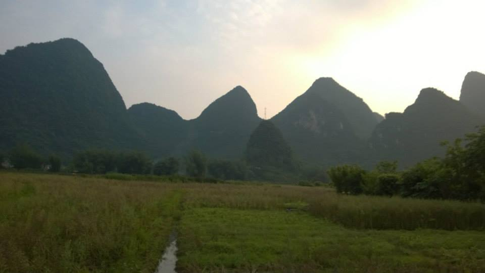 Typical surrounding view traveling the roads around YangShuo, Guangxi Province, China