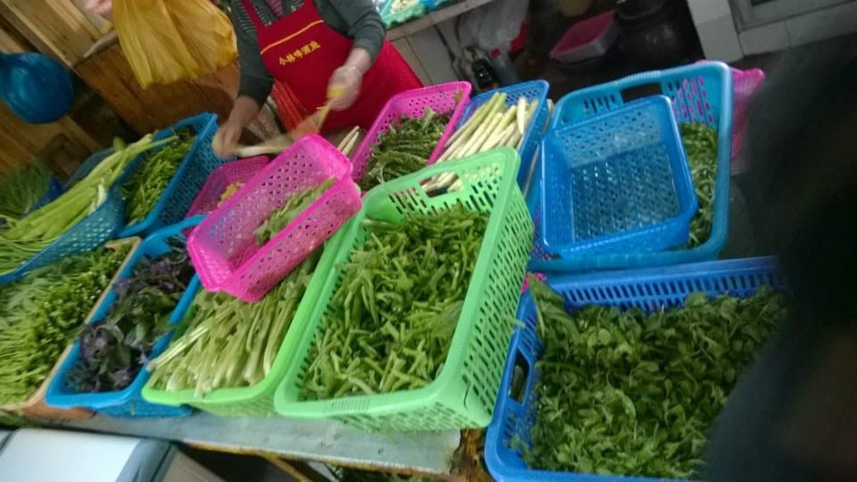 Fresh vegetables ready for a quick blanching to be served in YangShuo, Guangxi Province, China