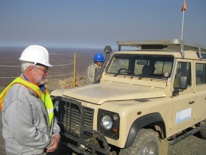 Peter Eysselein loading into the Land Rover, so we can inspect the mine for specimens