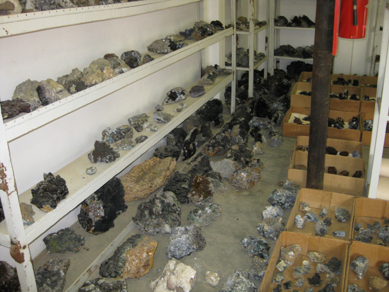 Fluorite specimens in the mineral shed at the Okorusu property