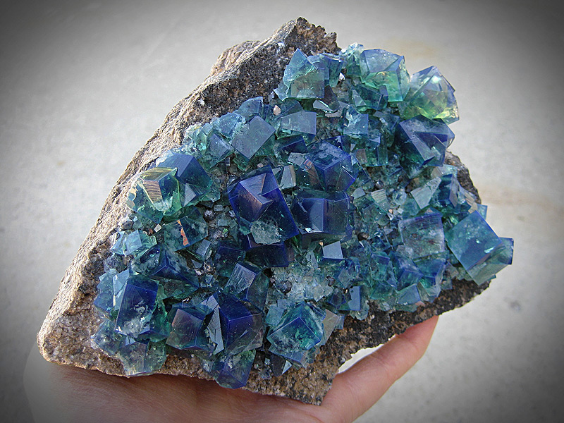 Mineral Specimen Fluorite Crystals Rogerley Mine County Durham England Cubes Green Fluorescent Blue For Sale