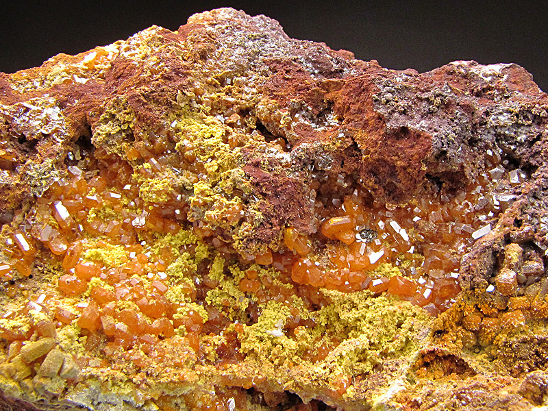 Mineral Specimen Orange Wulfenite Crystals Gonzalito Mine Complejo Gonzalito District Sierra Grande Río Negro Argentina Collected Jack and Marty Crawford 2005 For Sale