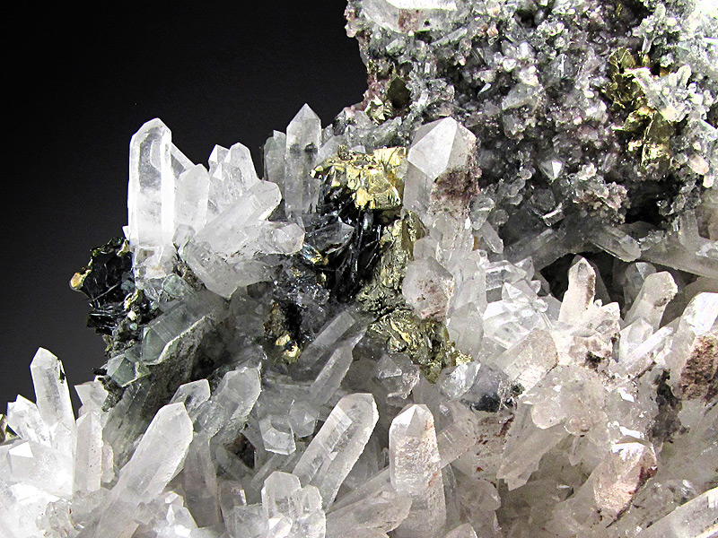 Chalcopyrite and Quartz Crystals Piedras Verde Municipio De Urique Chihuahua Mexico Mineral Specimen For Sale