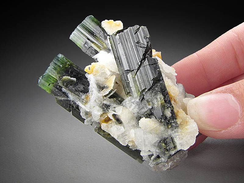 Elbaite Tourmaline and Cleavelandite Crystals Stak Nala Haramosh Mountains Skardu District Gilgit-Baltistan Pakistan Mineral Specimen For Sale