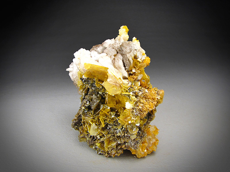 Wulfenite and Calcite Crystals San Carlos Mine San Carlos Municipio de Manuel Benavides Chihuahua Mexico Mineral Specimen For Sale