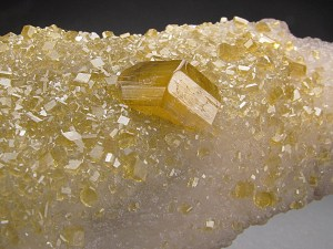 Golden Barite on Fluorite Xiefang Mine Ruijin County Ganzhou Prefecture Jiangxi Province China Mineral Specimen For Sale