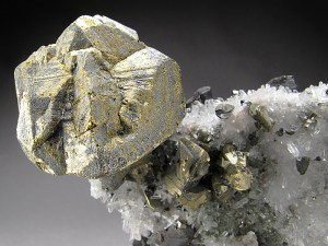 Chalcopyrite and Quartz Crystals Alimon Mine Huaron Mining District San Jose de Huayllay District Cerro de Pasco Province Pasco Department Peru Mineral Specimen For Sale