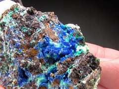 Linarite and Caledonite Crystals, Santa Eulalia, Mexico