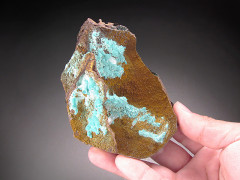 Hemimorphite and Rosasite on Matrix, Ojuela Mine, Mexico