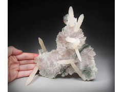 Calcite Crystals on Quartz, Irai, Rio Grande do Sul, Brazil