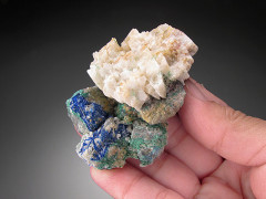 Linarite on Galena, Bingham, New Mexico
