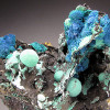 Azurite and Malachite on Matrix, Morenci, Arizona