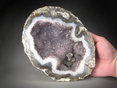 Amethyst and Calcite Crystals in Geode Half, Mexico