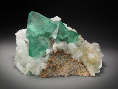 Green Fluorite with Quartz Crystals, Riemvasmaak, South Africa