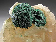 Malachite on Calcite Crystals, Tsumeb, Namibia