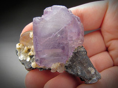 Fluorite and Quartz Crystals on Wolframite, Hunan Province, China