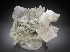 Fluorite and Dolomite on Quartz Crystals, Inner Mongolia, China
