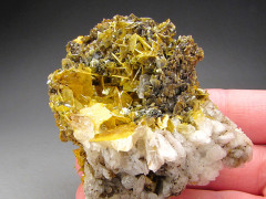 Wulfenite and Calcite, San Carlos Mine, Chihuahua, Mexico