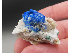 Linarite on Quartz Crystals, Bingham, New Mexico